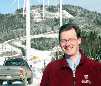 Dylan Voorhees '98, shown here at the Kibby Wind Farm in Maine, advocated for sustainable energy sources. Natural Resources Council of Main