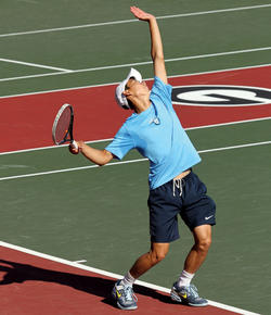 Playing at No. 1 singles, Winston Lin '15, the Ivy League Player of the Year, compiled a 31–3 record and won 20 consecutive matches. PHOTO: Bill Kallenberg