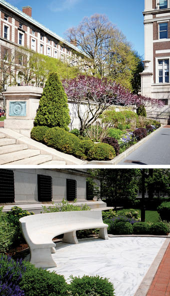 Greenery and sculpture add touches of beauty. PHOTOS: TOP, FRANCIS CATANIA; BOTTOM, COLIN SULLIVAN '11