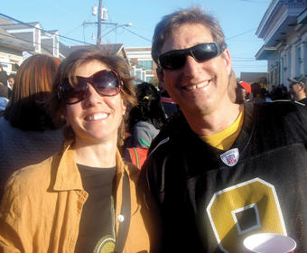 Aiges and his wife, Lisanne Brown '86 Barnard, celebrate the Saints' Super Bowl victory in 2010. PHOTO: COURTESY SCOTT AIGES '86