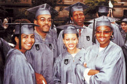 Class Day: Left to right, Hollee Freeman '90; Dr. Michael Jones '90, '94 P&S; Wright; Gregory Gittens '90; and Michelle Byrd '91. PHOTO: COURTESY SHEENA WRIGHT '90, '94L
