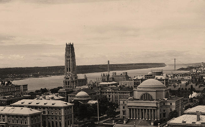 A view of the Morningside Heights campus in the 1940s looking northwest toward Riverside Church, the Hudson River and the George Washington Bridge. PHOTO: CCT Archives