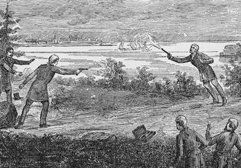 Aaron Burr (left) and Hamilton fought their fateful duel in Weehawken, N.J., on the morning of July 11, 1804. Hamilton died the following day. Photo: Getty Images/Kean Collection