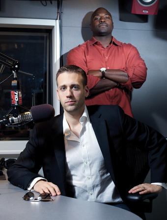 When Marcellus Wiley '97 (standing) was starring in football at Columbia, Max Kellerman '98 already had begun his broadcasting career by hosting a talk show about boxing on public access television. Now they co-host the midday show on ESPN Radio 710 AM Los Angeles. PHOTO: MAX S. GERBER