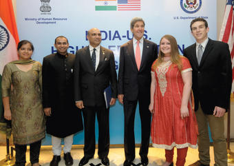 CEO intern Ben Harris '14 (far right) met with Secretary of State John Kerry and others at the India-U.S. Higher Education Dialogue in June in New Delhi. PHOTO: COURTESY CCE