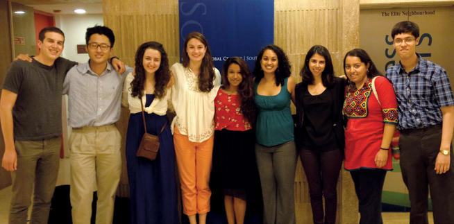 Gathering at the Columbia Global Center in Mumbai were (left to right) Ben Harris '14, David Kang '15, Hannah Sotnick '15, Allison Kammert '15, Meghna Mukherjee '15, Srilekha Jayanthi '11, Anjali Chowfla '11 SIPA, Doreen Mohammed '15 and Shrey Chandra '15.PHOTO: COURTESY CCE