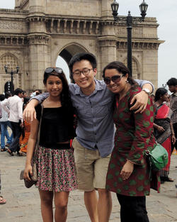Sightseeing at the Gateway of India (left to right) were Meghna Mukherjee '15, David Kang '15 and Doreen Mohammed '15. PHOTO: COURTESY MEGHNA MUKHERJEE '15