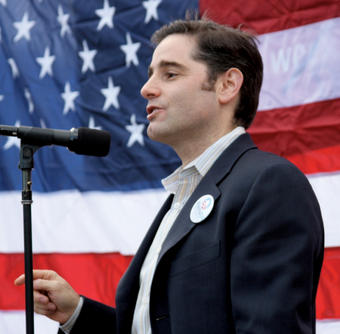 Genachowski spoke at a rally for Obama during the presidential campaign in August 2008.