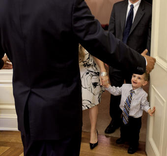 Genachowski's son Aaron met President Barack Obama '83 in August 2009. PHOTO: COURTESY THE WHITE HOUSE