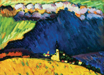 Colors affected Kandinsky profoundly, like pure emotions. Even at an early age, bright hues made him rapturous; black induced fear. Above, Dunaberg, 1909. PHOTOS: Above, © Christie's Images/CORBIS; Right, Courtesy Guggenheim Museum/ © Bettmann/CORBIS