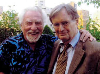 "Actor Joe Sirola '51 (left) with fellow actor David McCallum (NCIS, The Man From U.N.C.L.E.) on Sirola's terrace in Manhattan in June at his annual ""Champagne and Roses"" party, where guests greet the blooming of his 18 bushes. PHOTO: Russ Weatherford"