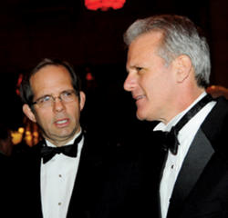 Honorees Andrew Barth '83, '85 Business (left) and Michael Oren '77.