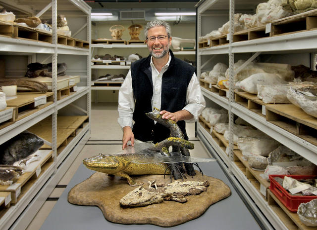 Paleontologist Neil Shubin '82 with a model of Tiktaalik roseae in the Dinosaur Collection Room at the Field Museum of Natural History, where he serves as provost. Photo: John Weinstein