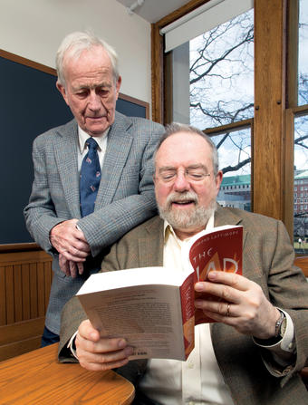 "David Denby '65, '66J (seated) returned to Hamilton Hall in February and revisited The Illiad under the watchful eye of the Lionel Trilling Professor Emeritus in the Humanities Edward ""Ted"" Tayler.Photo: Leslie Jean-Bart '76, '77J"