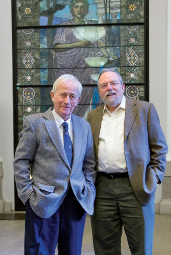 Denby (right) studied Lit Hum under Tayler as an undergraduate and again 30 years later when he took the course as an alumnus and wrote Great Books.Photo: Leslie Jean-Bart '76 '77J