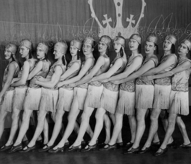 One of the Varsity Show's signature elements has been the pony ballet, shown here by the chorus line from 1929's Oh Hector!