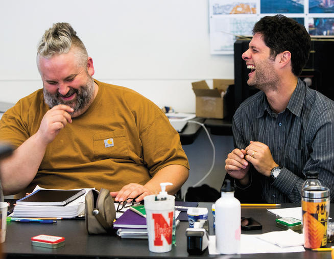 Brian Yorkey '93 (left) and Tom Kitt '96, who won Pulitzer and Tony Awards for Next to Normal, share a laugh as they prepare their latest show, If/Then, for Broadway.PHOTO: MATTHEW MURPHY