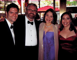 (Left to right) Kitt, Yorkey, Rita Pietropinto-Kitt '93, '96 Arts and Laura Pietropinto '00 attend a pre-reception on the night of the 2009 Tony Awards. Next to Normal won three, including best original score.