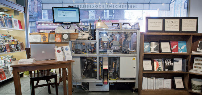 Epstein's latest venture is working with On Demand Books to get its Espresso Book Machine, for which he owns the patent, into more bookstores domestically and abroad. The above machine is at McNally Jackson Books on Prince Street in New York City. PHOTO: CHUCK ZOVKO