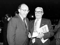 """University President Michael Sovern '53, '55L (left) told Spectator in 1983 that coeducation """"ends a tradition that all of us are delighted to bring to a close."""" PHOTO: JOE PINEIRO, COURTESY COLUMBIA UNIVERSITY ARCHIVES"""