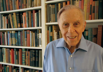 Dr. Herbert Hendin '46, '59 P&S, an international suicide expert, at the Upper East Side headquarters of one of his foundations, Suicide Prevention Initiatives. PHOTO: KAREN KELLER '05J