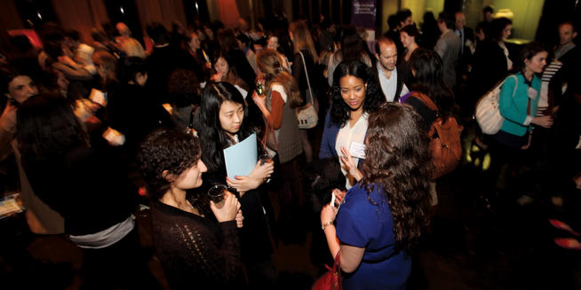 Alumni and students mingle in Low Rotunda at Media Networking Night on March 11. PHOTO: BRUCE GILBERT