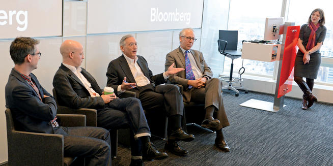 Janet Lorin '95, '96J hosted a panel on journalism at Bloomberg headquarters in Midtown on April 4 that featured (left to right) Nick Summers '05, Jared Sandberg '90, John Brecher '73 and Robert Friedman '69, '71 GSAS.  PHOTO: PETER FOLEY