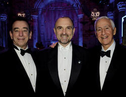 Dr. Leonard Schleifer, president and CEO of Regeneron (left); Yancopoulos; and Dr. P. Roy Vagelos '54 P&S, chairman of Regeneron's Board of Directors, at the 2013 John Jay Awards Dinner in March that honored Yancopoulos and four other alumni. PHOTO: EILEEN BARROSO