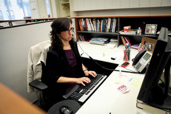 Kantor back at work at The New York Times building. PHOTO: DANIELLA ZALCMAN '09
