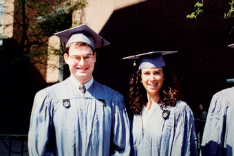 Journalists, career counselors, friends: Frank Foer '96 and Kantor at graduation. PHOTO: COURTESY JODI KANTOR '96