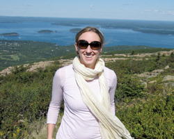 "Nina Willdorf '99, seen here in Maine's Mount Desert Island/Acacia National Park, says she wants to ""keep learning and growing"" in her professional life."