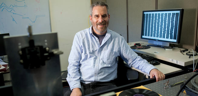 Carl Haber '80, '85 GSAS says it took only one hour to restore the recording of Alexander Graham Bell's voice but 10 years to develop the process that enabled him to do so. COURTESY JOHN D. AND CATHERINE T. MacARTHUR FOUNDATION
