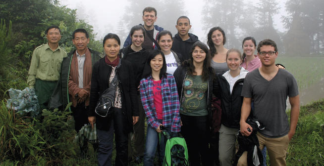 Maddy Cohen '13 (second row, far right) and other biology students visited the village of Xijiang, in Guizhou Province, China, in summer 2012 to discuss local forestry and agricultural practices. Photo: Matt Palmer