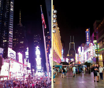 "Chiang calls this ""Close, But No Cigar."" Or, alternatively, ""There's No Place Like Home."" Left, Times Square, New York City. Right, Nanjing East Road, Shanghai. PHOTOS: MELISSA CHIANG '14"
