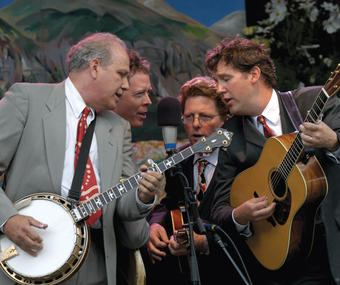 Pete Wernick '66, '73 GSAS (far left) performs with (left to right) Nick Forster, Tim O'Brien and Bryan Sutton at the Telluride Bluegrass Festival in Colorado. PHOTO: NATHAN RIST