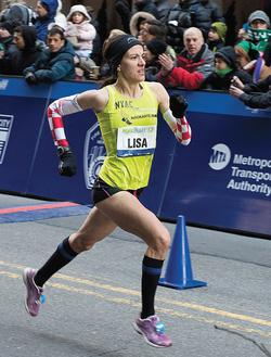 With a time of 1:09:18, marathoner Lisa Stublić '06 finished third at the 2013 NYC Half. PHOTO: COURTESY NEW YORK ROAD RUNNERS