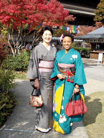 Ashley Hayes '06 with a friend on the way to a tea ceremony at Zenkoji Temple in Nagano. PHOTOS: COURTESY ASHLEY HAYES '06