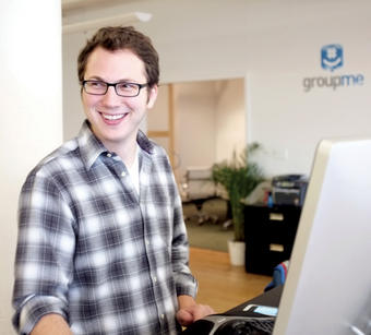 GroupMe co-founder Jared Hecht '09 at his sleek Flatiron office. PHOTO: GROUPME