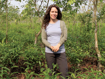 Linda Appel Lipsius '93 in April in the Teatulia organic tea garden in Northern Bangladesh.