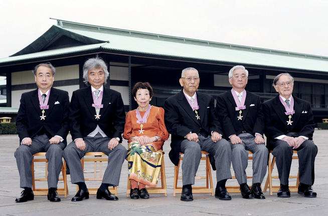Donald Keene '42, '49 GSAS (far right) received the Order of Culture from Emperor Akihito during a Culture Day ceremony at the Imperial Palace in Tokyo on November 3, 2008. Other honorees included (left to right) Makoto Kobayashi, a winner of the Nobel physics prize; maestro Seiji Ozawa; novelist Seiko Tanabe; Hironoshin Furuhashi, chairman emeritus of the Japan Swimming Federation; and Toshihide Masukawa, a winner of the Nobel physics prize. PHOTO: KYODO VIA AP IMAGES
