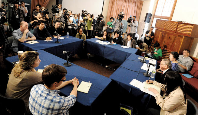 When Keene taught his final class at Columbia last spring, it was a major event for the Japanese news media. PHOTO: EILEEN BARROSO