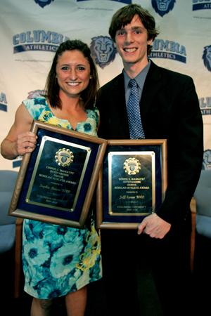 Soccer star Sophie Reiser '10 and All-American fencer Jeff Spear '10 were this year's winners of the Connie S. Maniatty Outstanding Senior Student-Athlete Awards at the annual Varsity 'C' 'Celebration. PHOTO: GENE BOYARS