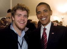 College student body president George Krebs '09 congratulates President-elect Barack Obama '83 on Election Night in Chicago. PHOTO: DAVID KATZ