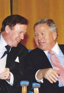 Quigley with Trustee Robert K. Kraft '63 at the 2004 Alexander Hamilton Award Dinner honoring Kraft. PHOTO: EILEEN BARROSO