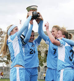 Members of the Columbia women's soccer team celebrate winning the school's first Ivy League championship in 2006.PHOTO: KURT SVOBODA/COLUMBIA ATHLETICS