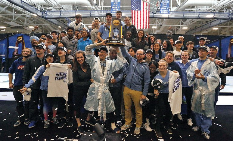 Columbia fencers celebrate their NCAA title.