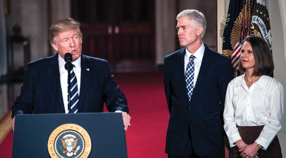 Neil Gorsuch '88 and his wife, Mary Louise, as he received the presidential nomination.