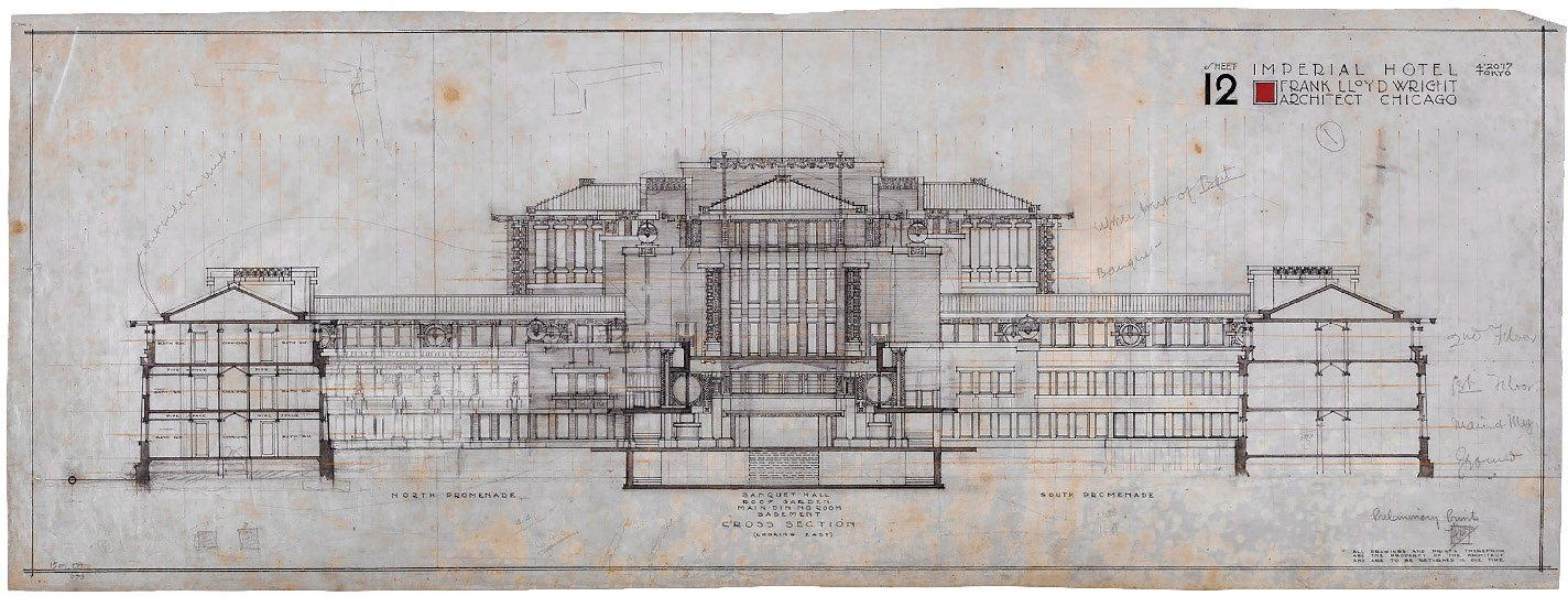A blueprint sketch of the facade of the Imperial Hotel, designed by Frank Lloyd Wright.