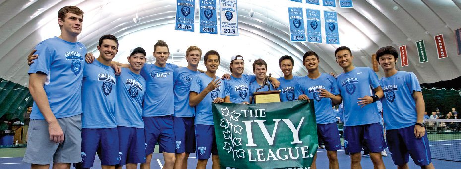 Members of Columbia's Men's Tennis Team pose together, having won the 14th Ivy League Title.