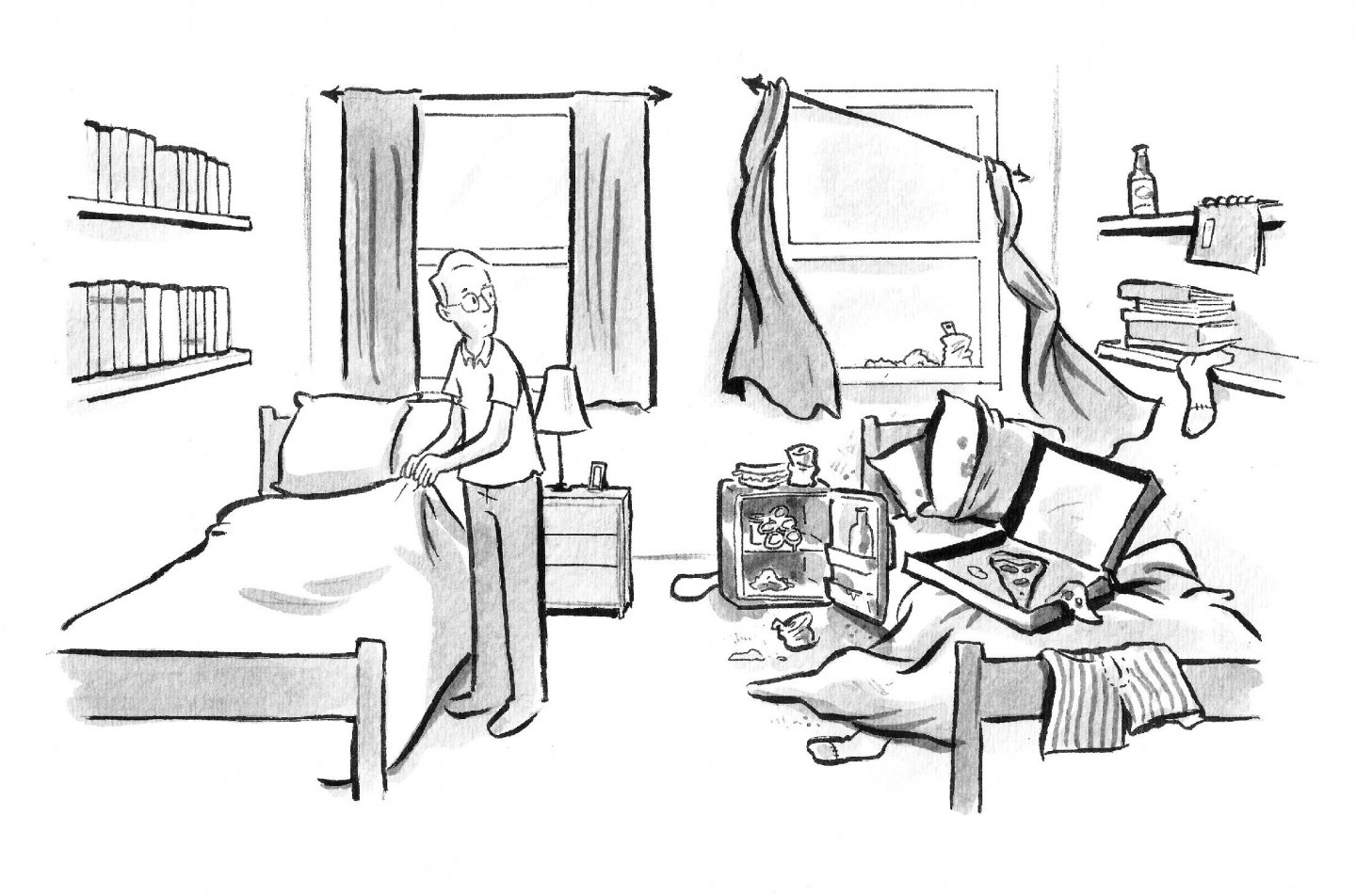 Illustration of a college dorm room
